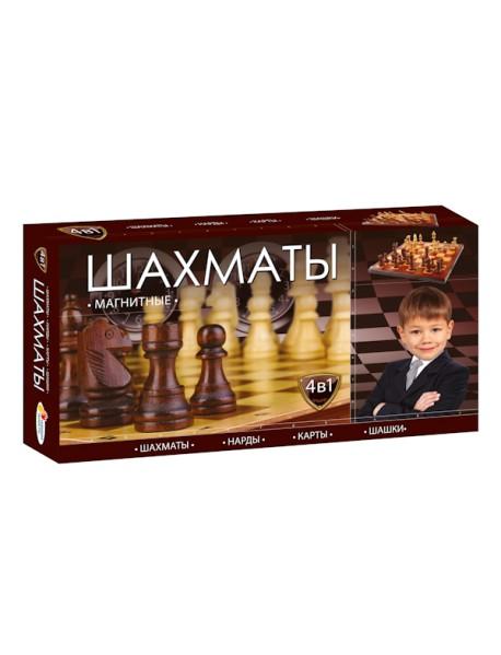 "Шахматы магнитные 4 в 1 ""Шахматы, шашки, нарды, карты"""