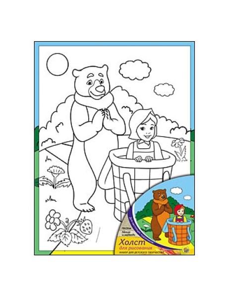 """Холст """"Маша и Медведь"""", с красками, 18х24 см"""