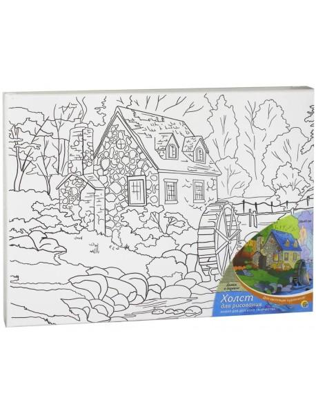 "Холст ""Домик в деревне"", с красками, 30х40 см"