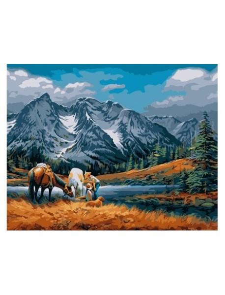 """Холст с красками """"Рисование по номерам. Лошади в горах"""", 30x40 см"""