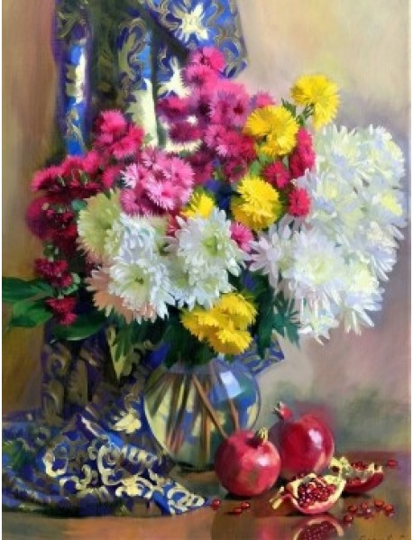 "Холст с красками ""Рисование по номерам. Хризантемы и гранаты"", 40x50 см"