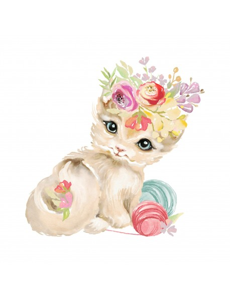 """Холст с красками """"Котенок с клубками ниток"""" (16 цветов)"""