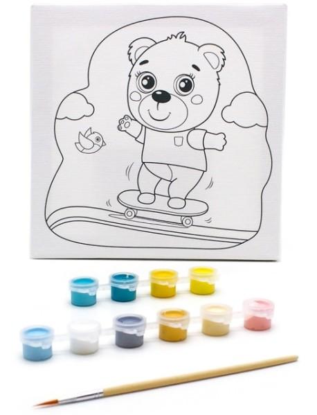 """Раскраска на холсте """"Медвежонок на скейте"""", 20х20 см"""