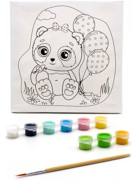 """Раскраска на холсте """"Панда с шариками"""", 20х20 см"""