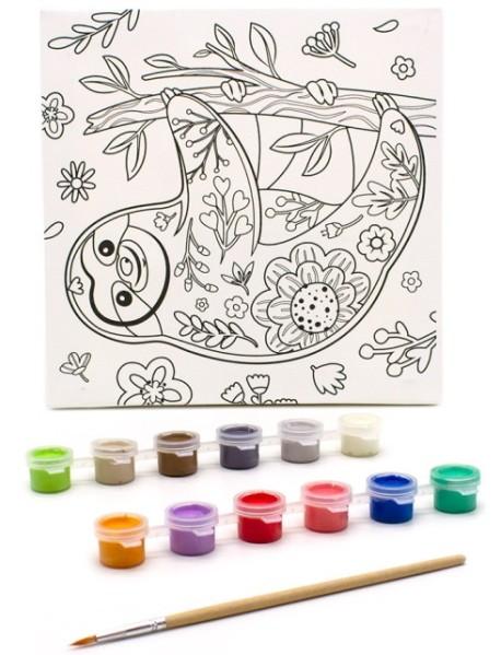 """Раскраска на холсте """"Цветочный ленивец"""", 20х20 см"""