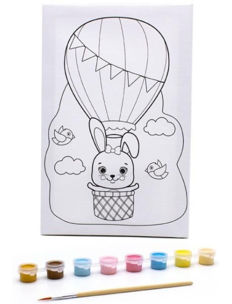 "Раскраска на холсте ""Зайка на воздушном шаре"", 30х20 см"