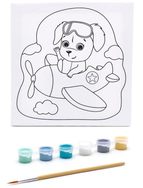 """Раскраска на холсте """"Собачка на самолете"""", 20х20 см"""