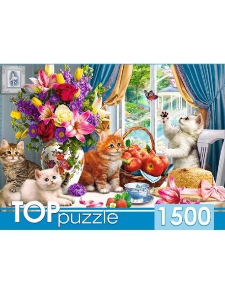 """Пазлы """"Toppuzzle. Милые котята в гостиной"""", 1500 элементов"""