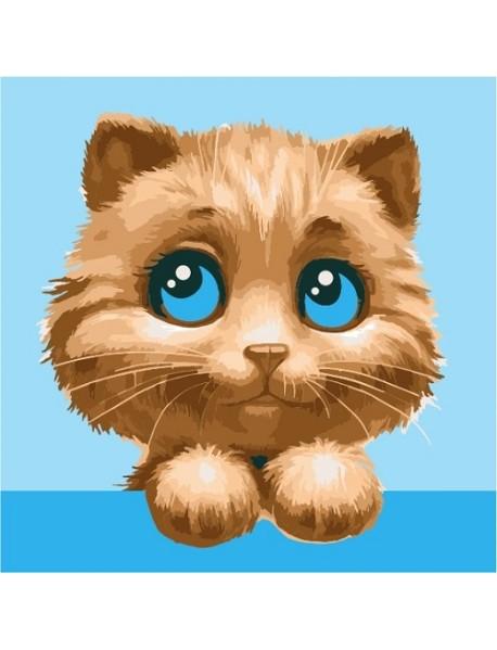 """Холст с красками """"Маленький любопытный котик"""", 20х20 см"""
