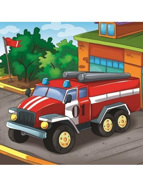 "Холст с красками ""Рисование по номерам. Пожарная красная машина"", 20х20 см"