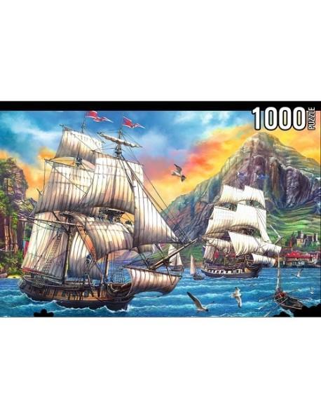 """Пазлы """"Konigspuzzle. Старинные корабли на закате"""", 1000 элементов"""