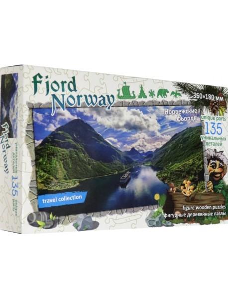 """Фигурный деревянный пазл """"Travel collection. Фьорды. Норвегия"""""""